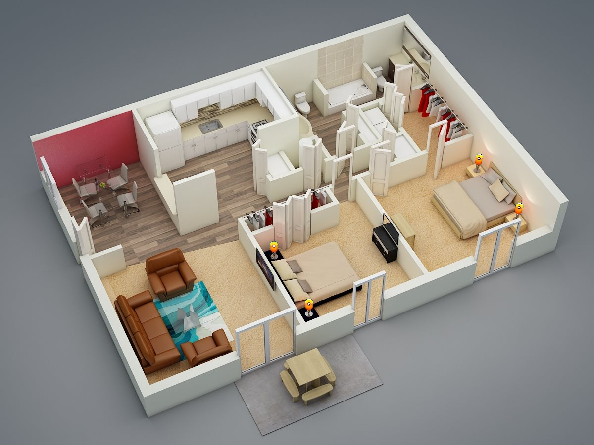 Two Bed | One Bath Floor Plan 2